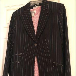 3pc Suit - Black Pink Pin Stripe Blazer Pants Top